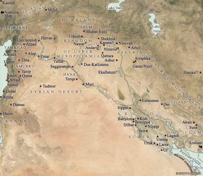 A general map of Mesopotamia, covering the period from 2000-1600 BCE. (©PL Kessler/The History Files. Republished with the author's permission. Original image by P L Kessler, 2012.)