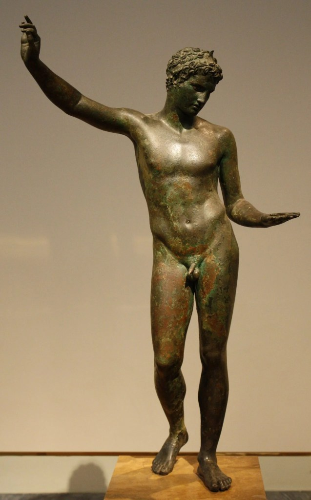 A Greek athlete wearing a crown of victory. 340-330 BCE, National Archaeological Museum, Athens.