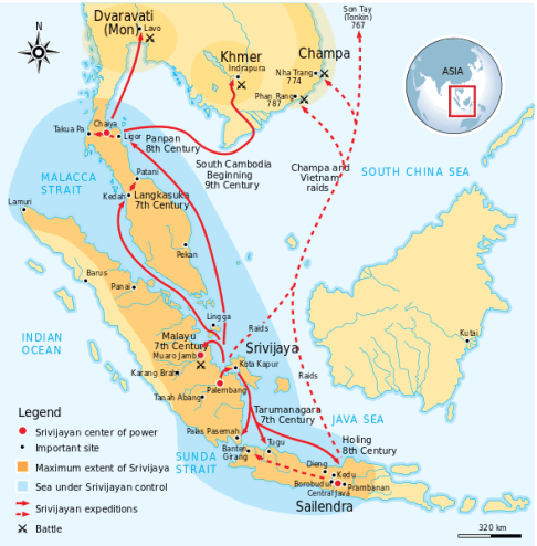 Maximum extent of Srivijaya Empire around the eighth century CE. Expanding from Sumatra, Central Java, to Malay Peninsula. The red arrows show the series of Srivijayan expedition and conquest, in diplomatic alliances, military campaign, or naval raids.