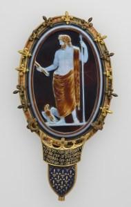 Cameo of Jupiter (The Cameo of Chartres), about 50. Roman. Sardonyx set in fourteenth-century gold and enamel mount. Object: H: 15.2 x L: 6.5 cm (6 x 2 9/16 in.). Accession No. VEX.2014.1.104. Bibliothèque nationale de France, Département des monnaies, médailles et antiques, Paris.