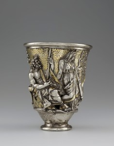 Beaker with Imagery Related to Isthmia and Corinth, 1 – 100. Roman. Silver and gold. Object: H: 12.6 x Diameter: 10.3 cm, Weight: 463 g (4 15/16 x 4 1/16 in., 1.0207 lb.). Diameter: 4.7 cm (1 7/8 in.). Accession No. VEX.2014.1.10Bibliothèque nationale de France, Département des monnaies, médailles et antiques, Paris.