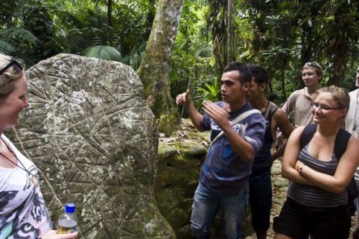 A stone slab from the ancient city of Ciudad Perdida in Colombia. (Photo Credit: Mr. William Neuheisel.)