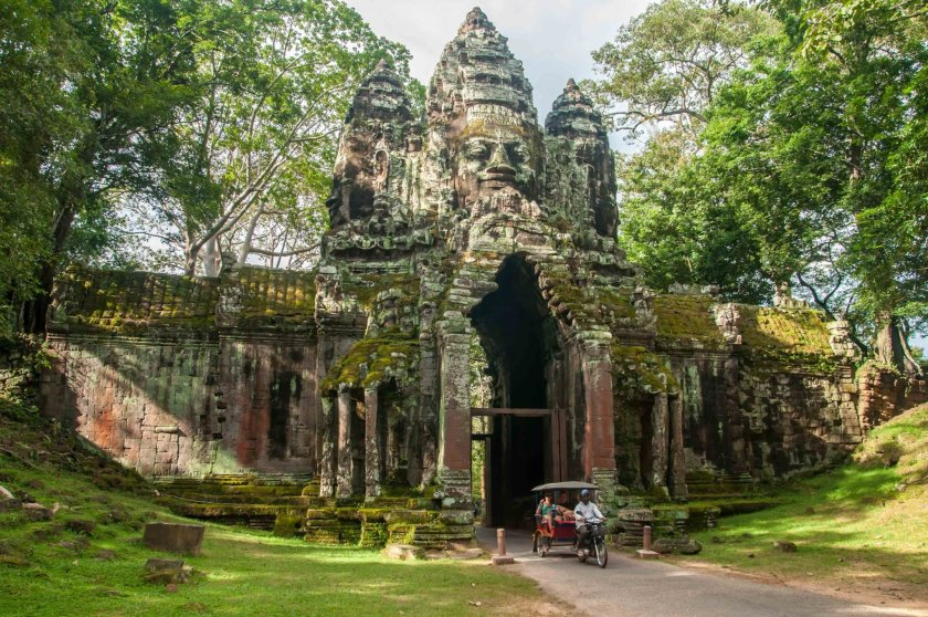 Northern gate of the Angkor Thom complex.