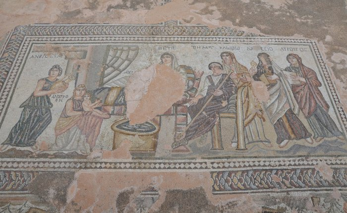 The House of Theseus, The first bath of Achilles mosaic, South Wing, Paphos Archaeological Park