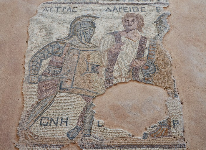 Mosaic depicting gladiators being separated by a referee, late-3rd century AD, House of the Gladiators, Kourion