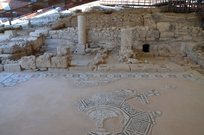 "Mosaic with a welcoming inscription graces the entrance with the phrase: ""Enter for the good luck of the house"", House of Eustolios, Kourion"