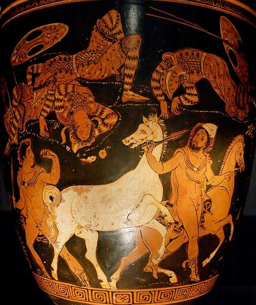 divinities: Diomedes (left) and Odysseus steal the horses of Rhesos. Lycurgus Painter [Public domain], via Wikimedia Commons.