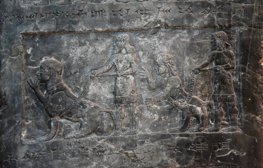 Side D: There are more monkeys with their keepers. Photo © Osama S. M. Amin. Black Obelisk of Shalmaneser III.