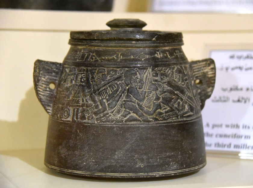 This pot and its lid were made of a black stone and were inscribed with cuneiform texts. From Mesopotamia, modern-day Iraq; precise provenance of excavation is unknown. 3rd millennium BCE. Erbil Civilization Museum, Iraqi Kurdistan. Photo © Osama S. M. Amin.
