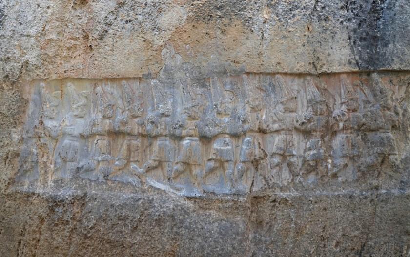 West wall of Chamber B depicting the twelve Hittite gods of the Underworld.