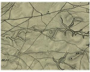 Example of Fedor Schubert's Topographic map showing the location of the Bezvodovka solar mounds.