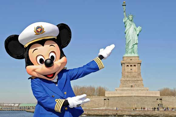 Captain Mickey in front of Statue of Liberty