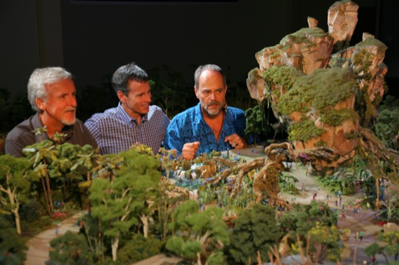 ©Copyright Disney |  WDI's Joe Rohde (right) shares highlights of the project model with Cameron (left) and Walt Disney Parks & Resort Chairman Tom Staggs. Scheduled to open in 2017, the AVATAR-inspired land will be part of the largest expansion in Disney's Animal Kingdom history.