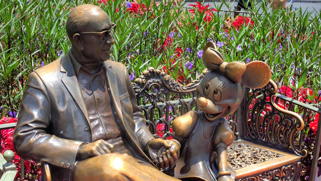 Roy O. Disney and Minnie Mouse scuplture