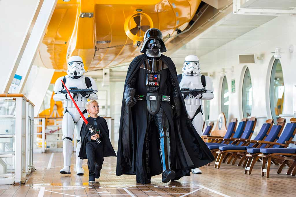Darth Vader, Stormtroopers and mini-Vader on Disney Cruise