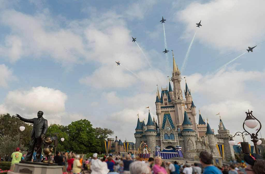 blue angels fly over the magic kingdom