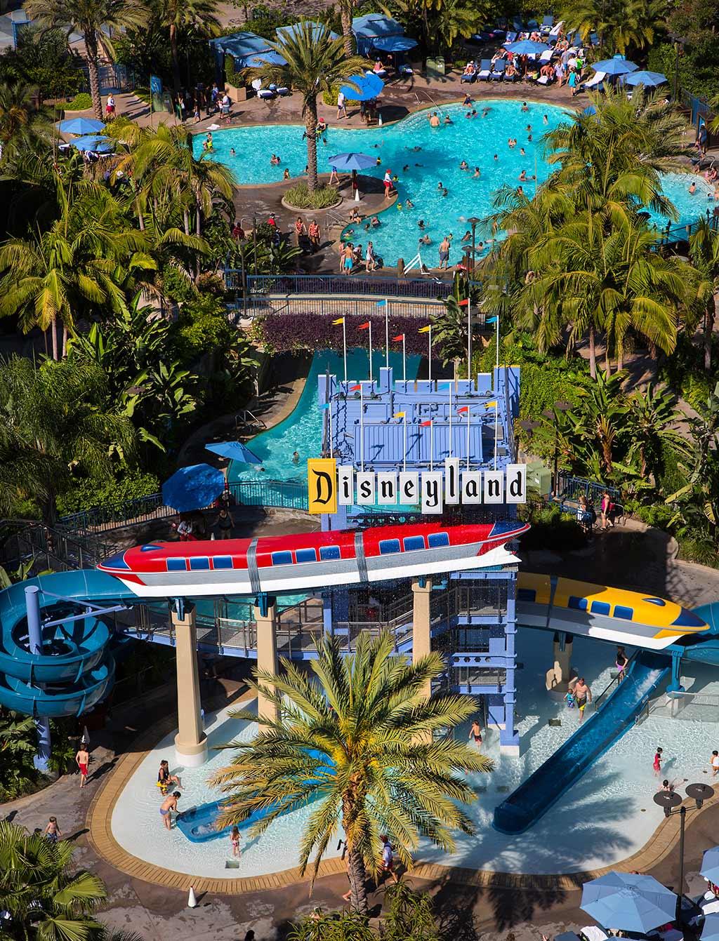Monorail slide at the Disneyland Resort's Disneyland Hotel pool