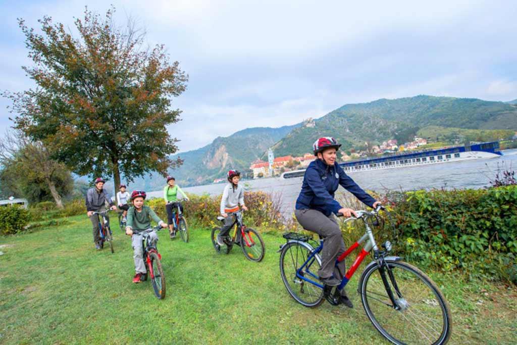 Biking excursion along a river