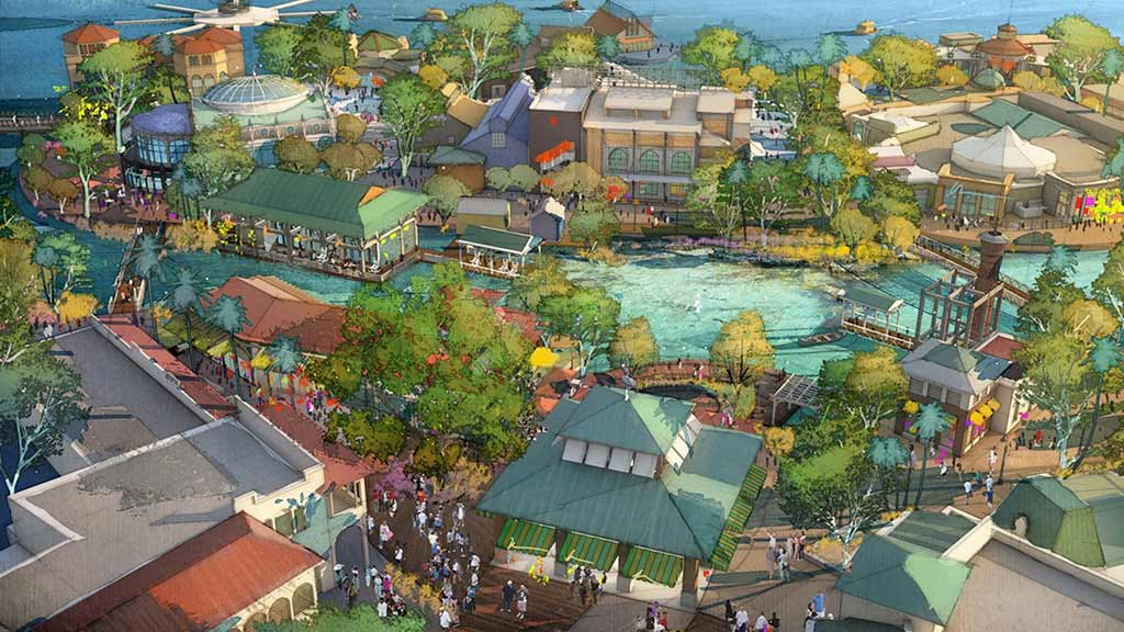 Artist's rendering of an aerial view of Disney Springs