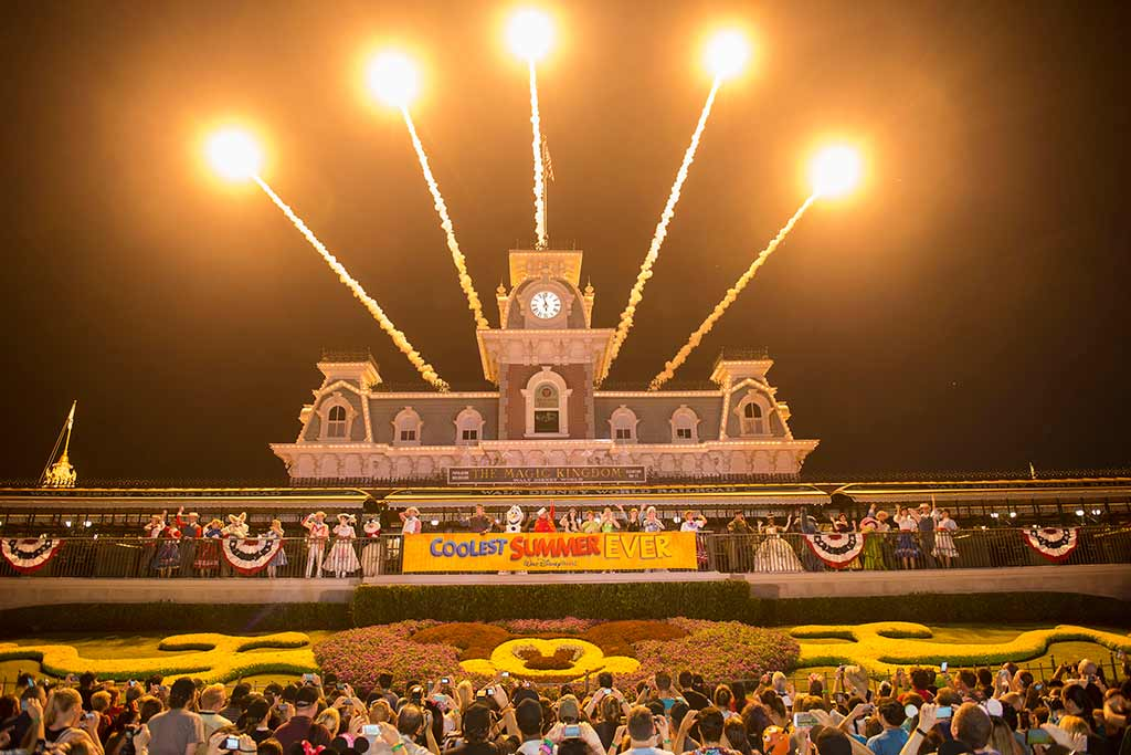 Fireworks over the WDW RR Station kickoff the 24 hour event