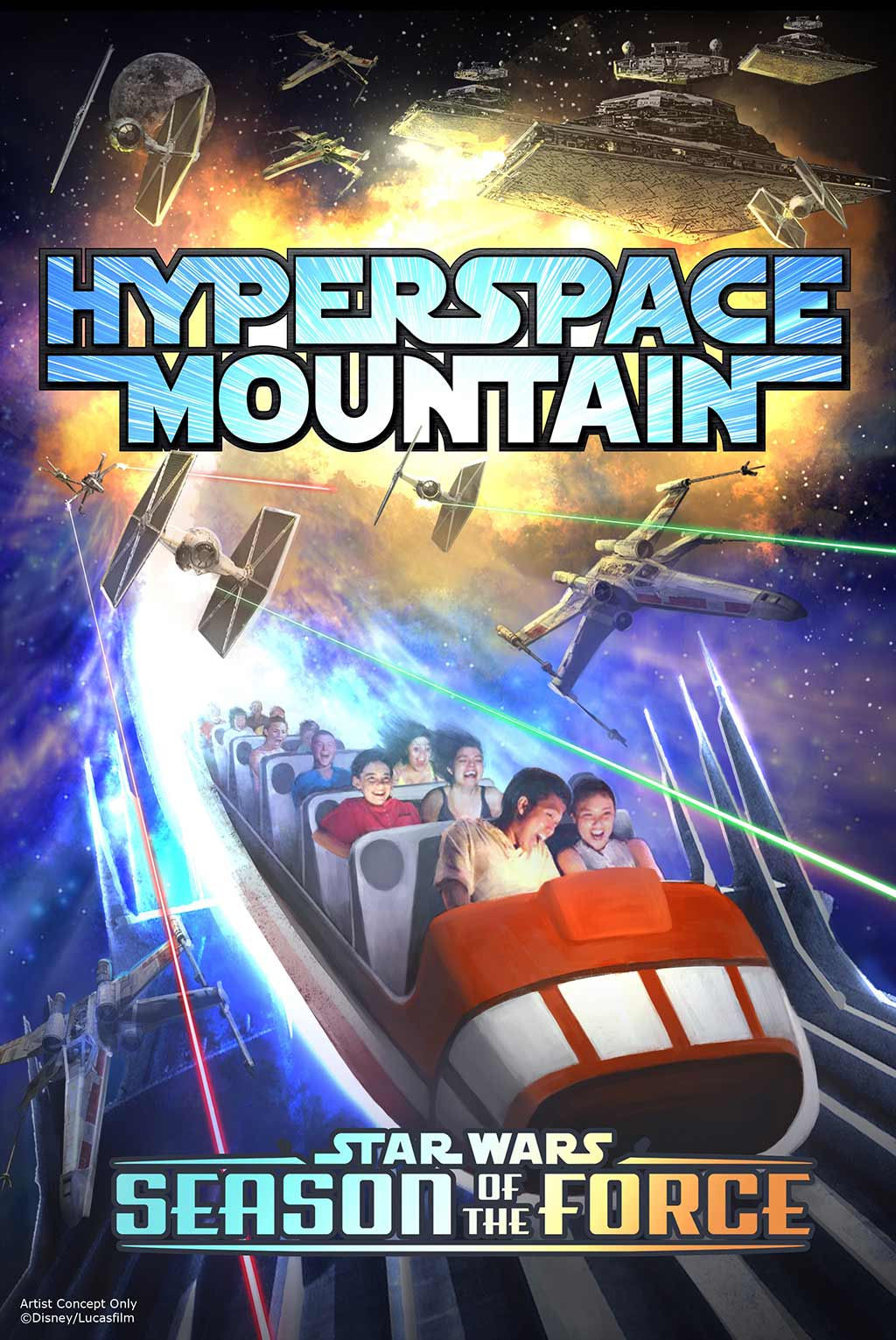 Poster for Star Wars themed Space Mountain overlay, Hyperspace Mountain