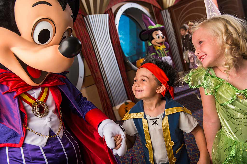 Mickey Mouse greets guests onboard the Disney Cruise Line