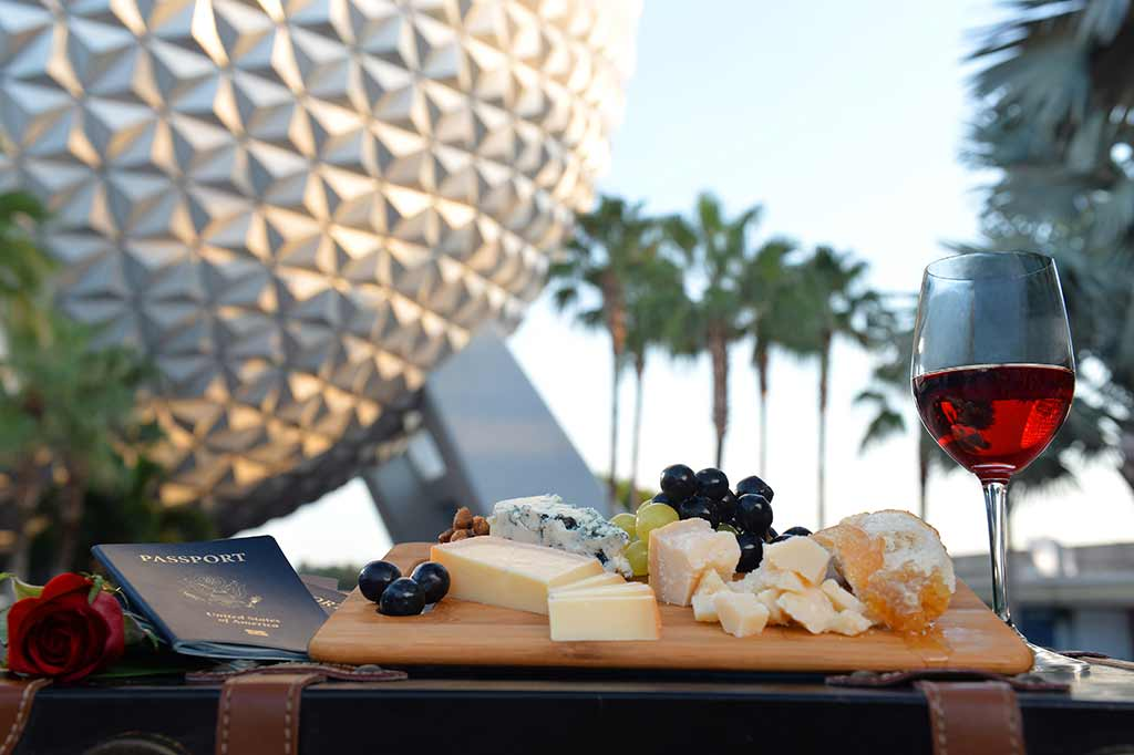 Cheeseboard in front of Spaceship Earth