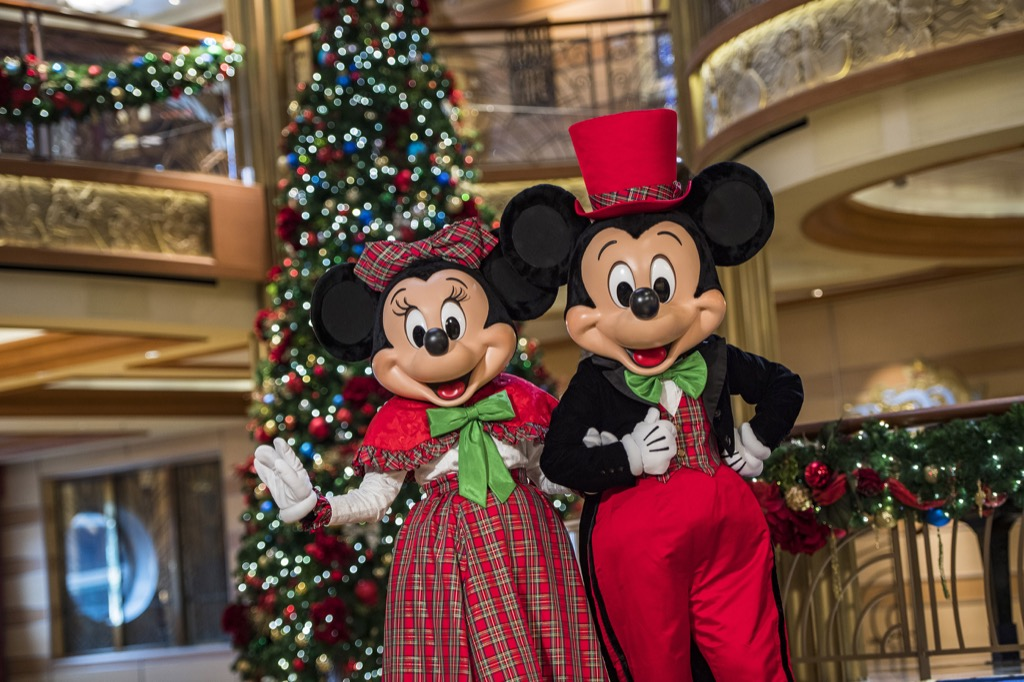 Mickey Mouse and Minnie Mouse in the great hall