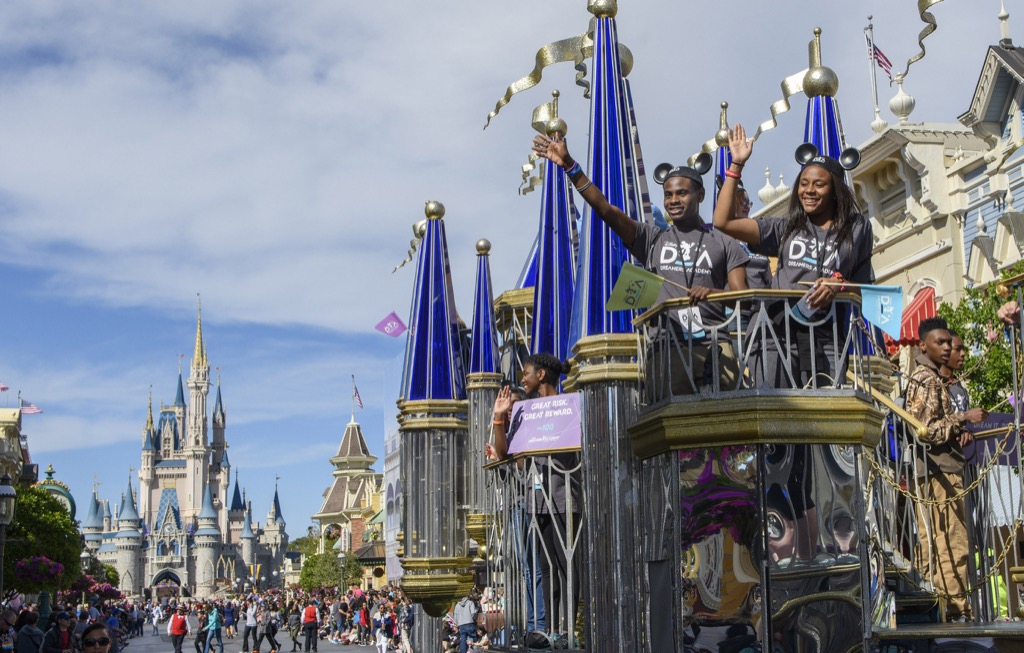 Disney Dreamers on parade in the Magic Kingdom theme park.