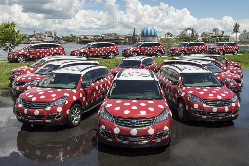 Minnie Van Service vehicles at Disney Springs
