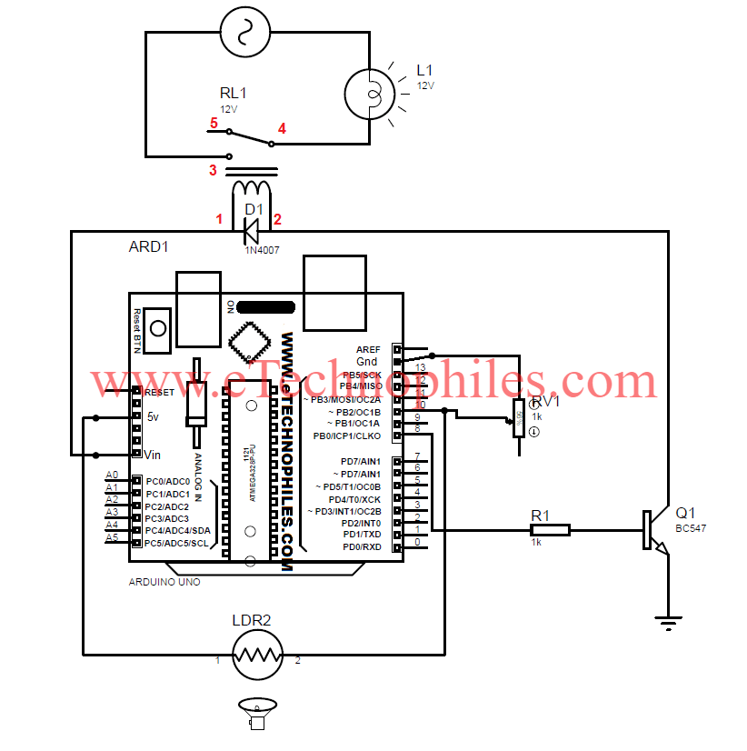 how to make an automatic street light project using ldr with arduinoconnecting wires circuit diagram automatic street light project using ldr with arduino circuit