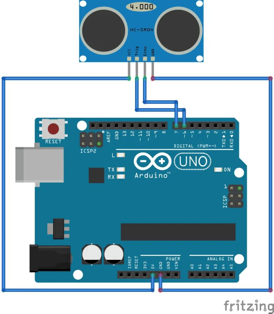 HCSR04 Ultrsonic sensor connections with Arduino