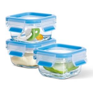 Clip & Close glazen vershoudboxen, 3-dlg. set, blau