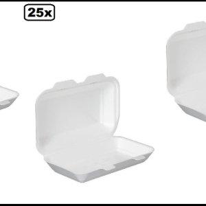 25x Menu/lunchbox wit 240x155x70mm - lTake away lunch broodjes maaltijd bezorging eten food bak vakken maaltijdbox menu afhaal