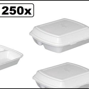 200x Menubox 3 vaks wit - maaltijd bezorging eten food bak vakken maaltijdbox menu afhaal
