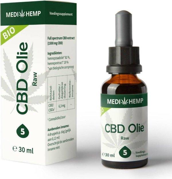 Medihemp CBD Olie - Raw - 5% - 30ml