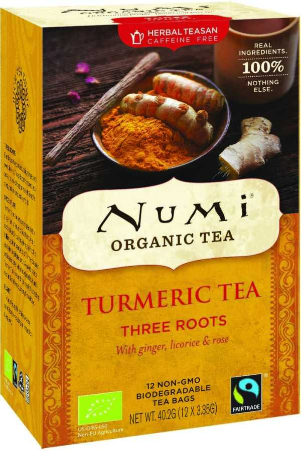 Numi Three Roots - kurkuma thee, met gember, zoethout & roos, bio