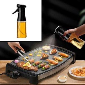 Decopatent® Olijfolie Sprayer - Oliefles met Verstuiver - Afvallen - Voor Gezond Bakken en Koken - Kook Bakspray - 210ML - Zwart