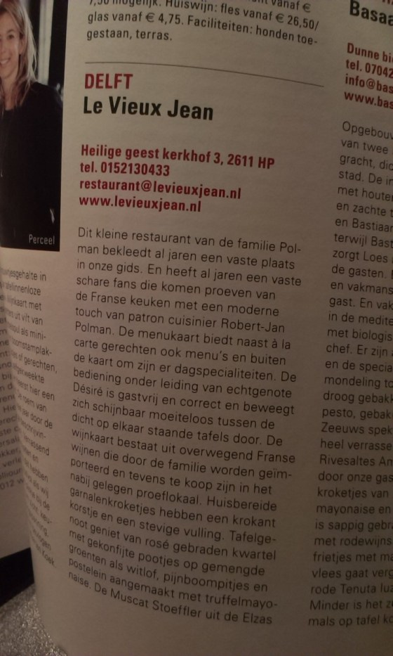 Lekker500 revieuw Le vieux jean restaurant Delft