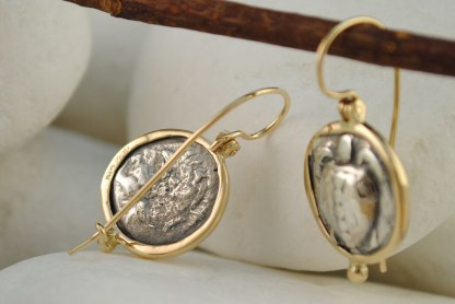 Ancient Greek Aegina Turtle Coin Earrings by A.LeONDARAKIS