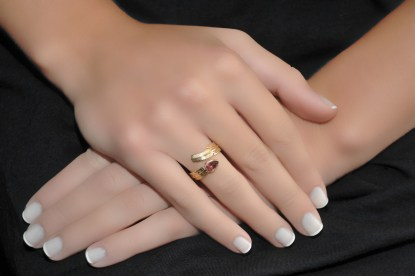 18 Gold Tourmaline Feather Ring