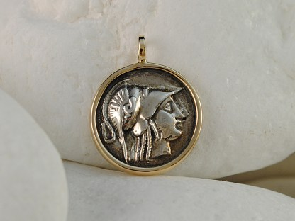 Goddess Athena Coin Pendant in Sterling Silver & 14k Gold by A.LeONDARAKIS