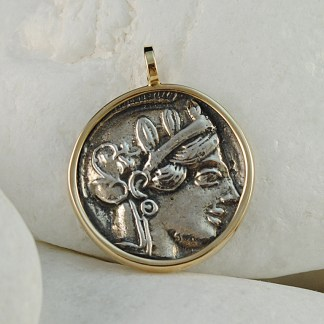 Ancient Greek Coin Pendant, Goddess Athena & Owl - Solid Sterling Silver and 14K Gold - A.LeONDARAKIS
