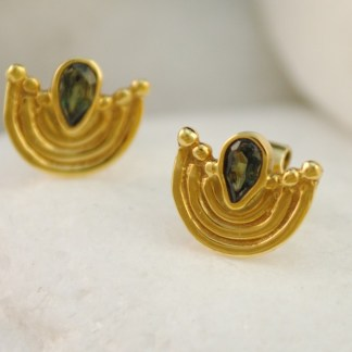Green Tourmaline Byzantine Earrings by A.LeONDARAKIS