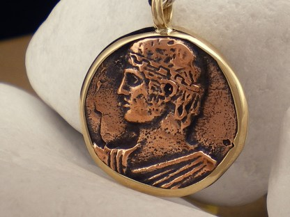 """Heniokhos"" Sterling Silver Keyring with K14 gold and copper coin - A. LeONDARAKIS"