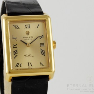 Rolex Cellini Ref. 4103 18k Gold Manual Wind Rectangle Vintage Swiss Watch