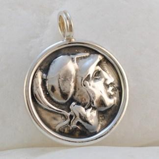 Ancient Greek Goddess Athena & Owl Coin Pendant by A.LeONDARAKIS