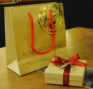 A. LeONDARAKIS Box and Small Paper Bag