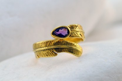 Amethyst Gold Feather Ring