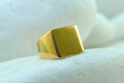 Gold Square Chevalier Ring by A.LeONDARAKIS